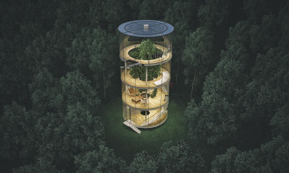 Современная архитектура Казахстана: стеклянный дом вокруг дерева